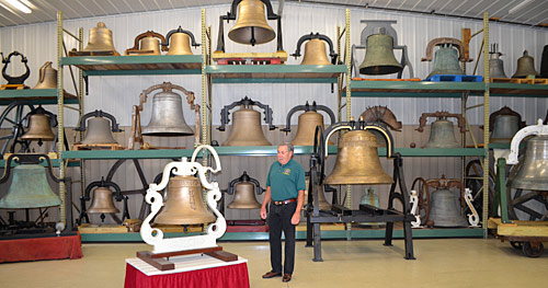 Bob Brosamer with some of his used church bells