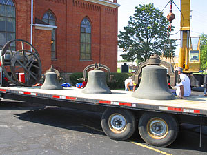 Flatbed truck loaded with bells
