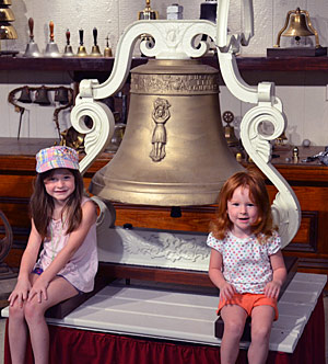 Brosamer grand-kids with big bell