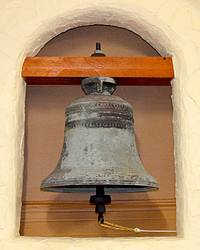 Mission Bell showing bell rope
