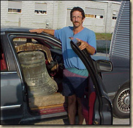 Tim from Canada with his bell in his car